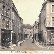 Saint-Saulge (Nièvre) La rue du Commerce CPA