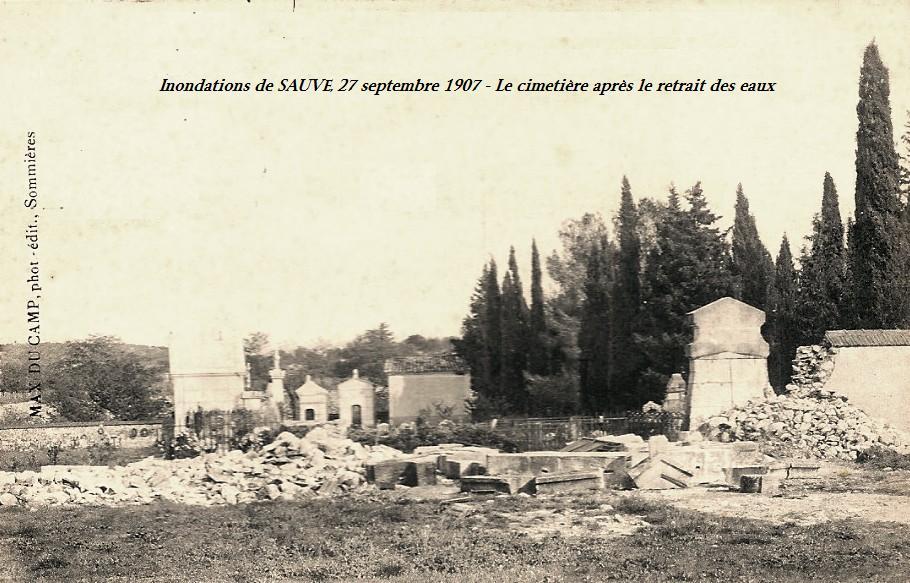 Sauve (Gard) CPA Les inondations de 1907, le cimetière