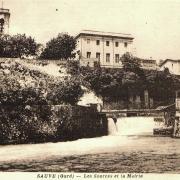 Sauve (Gard) CPA Les Sources et la mairie