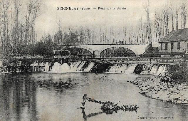 Seignelay (89) Le pont sur le Serein CPA