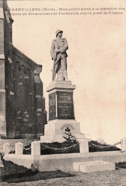 Seranvillers forenville 59 le monument aux morts cpa