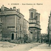 Stenay (Meuse) La rue de Chanzy et l'église CPA