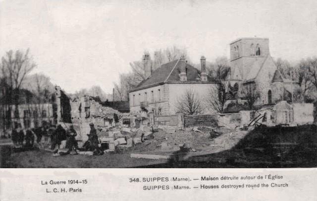 Suippes 51 1914 1918 autour de l eglise cpa
