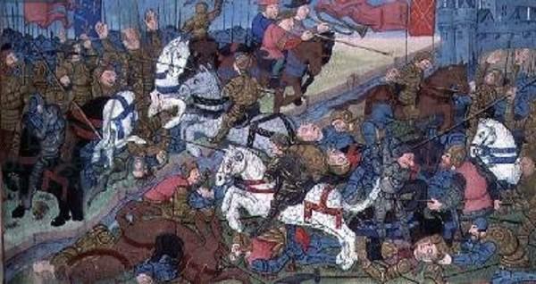 Thierry II, scène de guerre contre son frère en 612