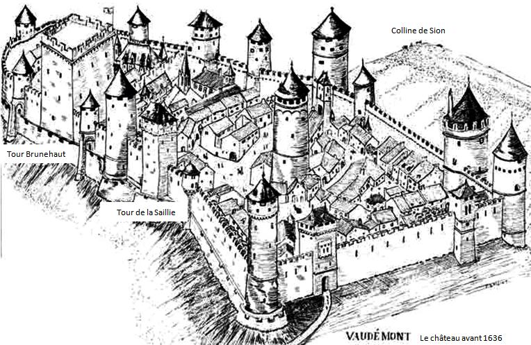 Vaudémont (Meurthe-et-Moselle) Le château plan avant 1636