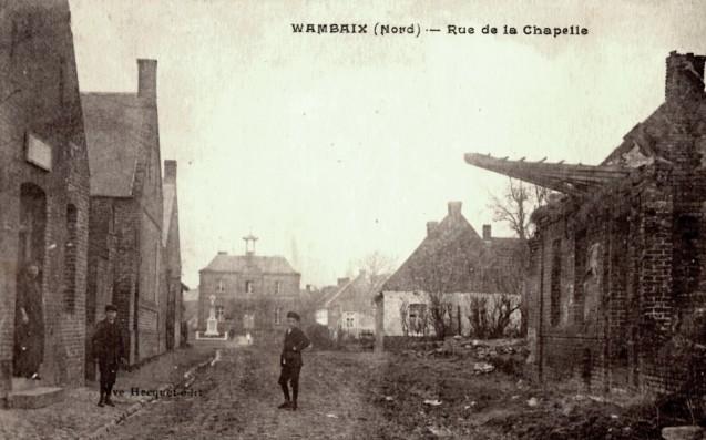 Wambaix 59 la rue de la chapelle cpa
