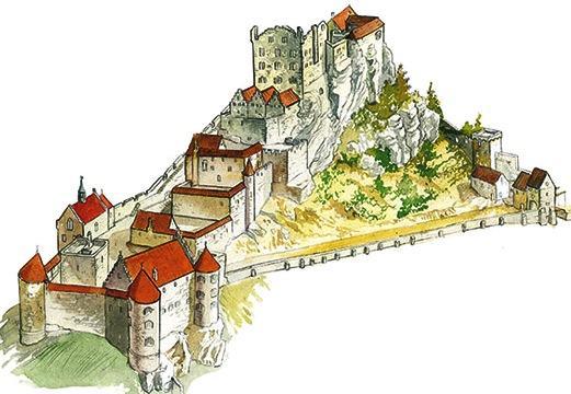 1ferrette 68 le chateau de ferrette croquis