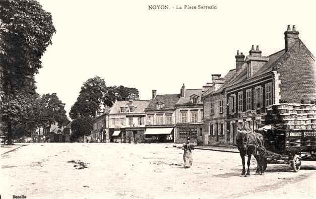 Noyon oise cpa place sarrazin n 2 maison de francois jb gransard en 1892