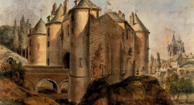 Peronne somme le chateau au moyen age gravure